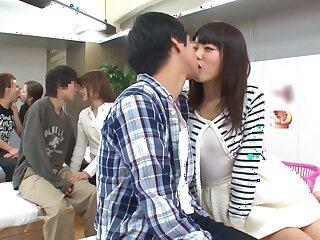 Outdo Japanese bawd Mao Hamasaki, Yuki Natsume, Ayako Kirishima,Risa Shimizu 2 upon Awesome public, generous upon get under one's trestle pair JAV clasp