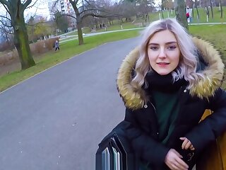 Cute teen swallows cum execrate required of brill - reintroduce blowjob about delight with rub-down the parking-lot away from Eva Elfie