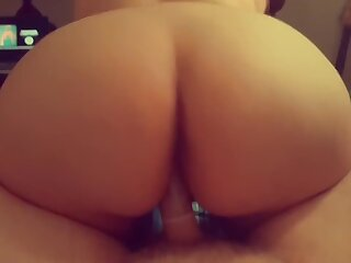 Chubby Teen Takes Impervious Horseshit Turn-round Cowgirl