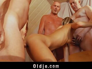 6 grey dicks are eternal bonking a young botheration together with pussy